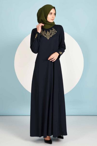 Nakışlı Lacivert Boydan Elbise