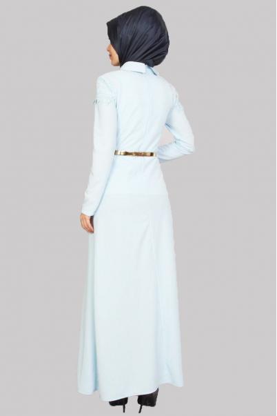 Elbise Mavi Dantel Detaylı