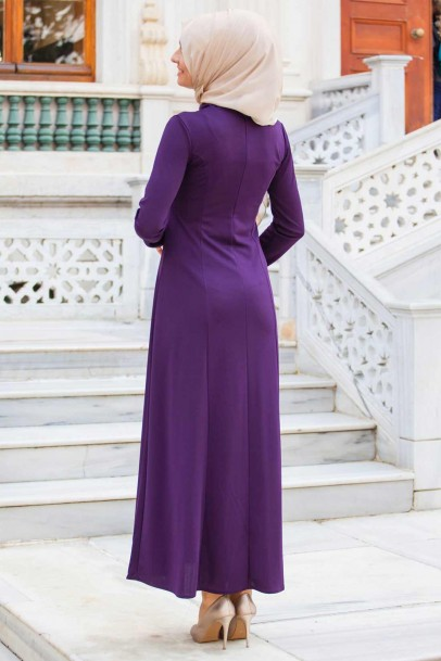 Boydan Nakışlı Elbise Mor