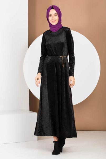 Kadife Elbise Siyah Kol Ve Yaka Dantelli