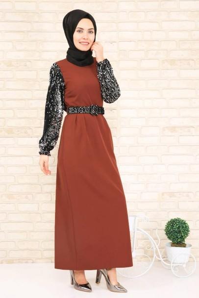 Kiremit Pileli Elbise Kolları Pul Payetli
