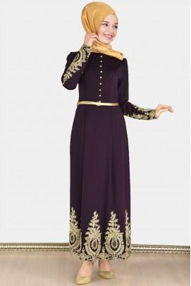 Tesettür Abiye Elbise Fransız Dantelli Mor Abaya
