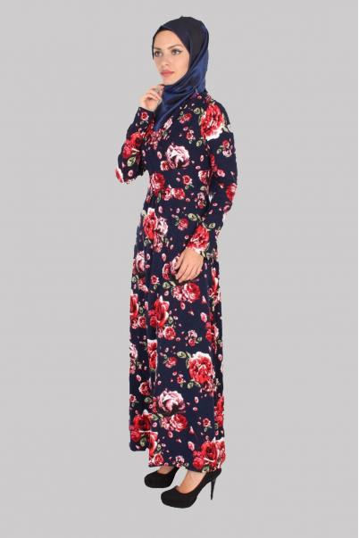 Elbise Çiçek Desenli Lacivert Kruvaze