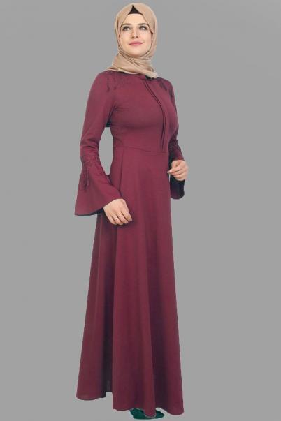 Elbise Bordo Püskül Detaylı