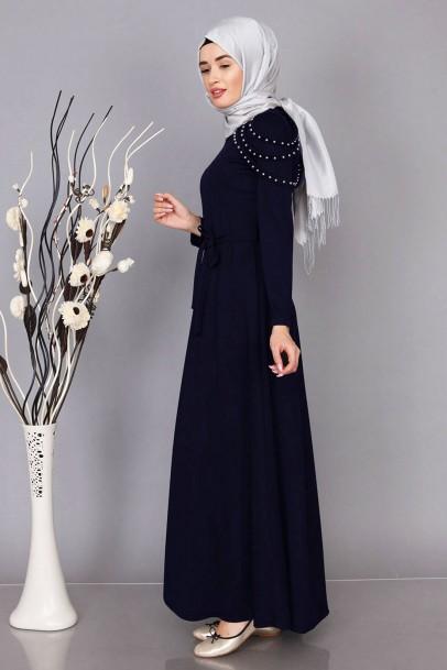 Düğün Nişan Lacivert Abiye Elbise