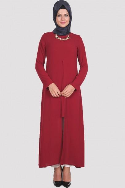 Elbise Acık Pile Bordo