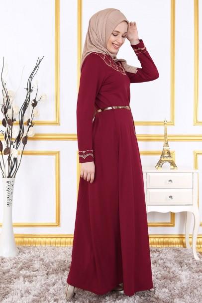 Bordo Nakışlı Elbise