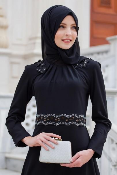 Elbise Lacivert Güpürlü
