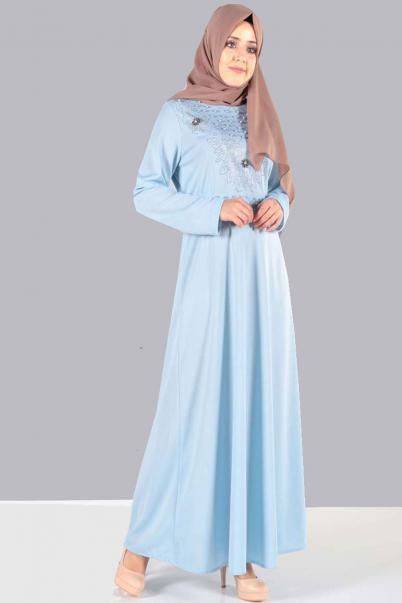 Elbise Taş ve İnci Detaylı Mavi