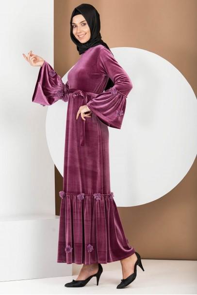 Valon Kol Gül Kurusu Kadife Elbise