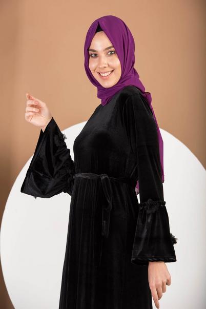 Kadife Elbise Siyah Valon Kol Çiçekli