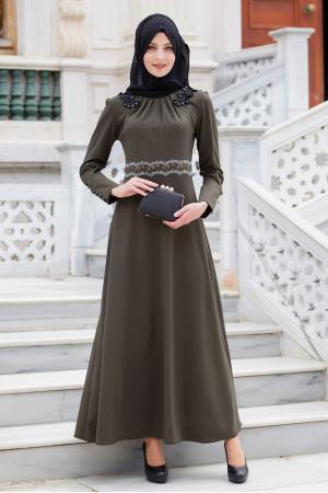 Haki Taş Ve Dantel İşlemeli Elbise