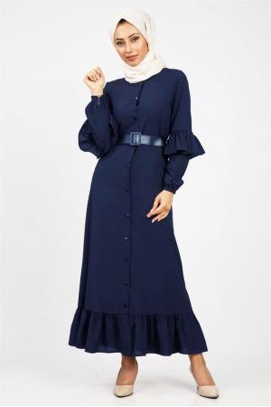 Boydan Fırfırlı Elbise Lacivert