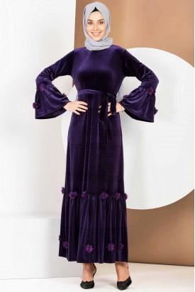 Büyük Beden Mor Kadife Elbise