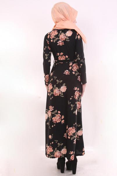 Çiçekli Tesettür Elbise modeli