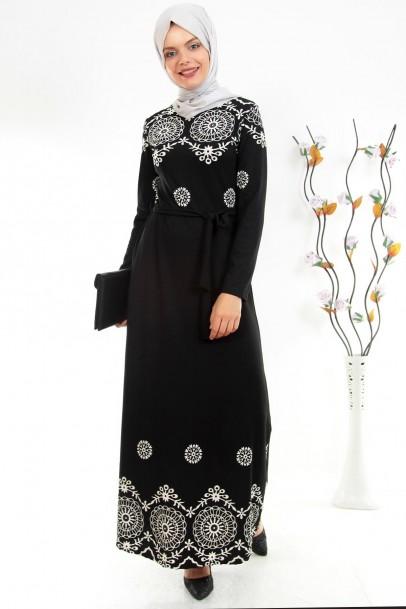 Dantel Görünümlü Siyah Tesettür Elbise