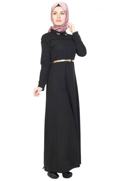 Dantel Güpür Siyah Tesettür Elbise