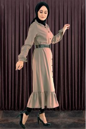Düğmeli Fırfırlı Boydan Tesettür Elbise Bej