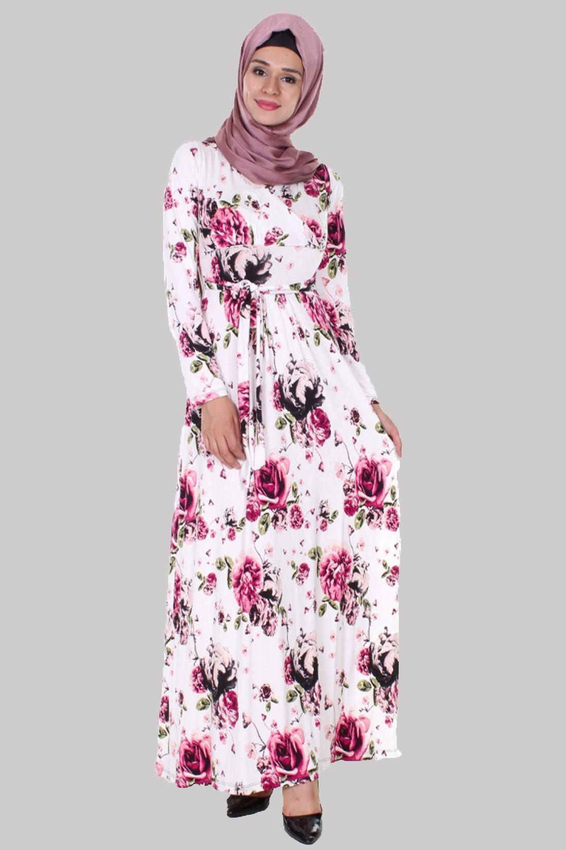 5353bfefe79bc Elbise Çiçek desenli Kruvaze - çiçek baskılı Elbiseler