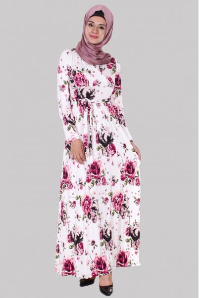 Elbise Çiçek desenli Kruvaze
