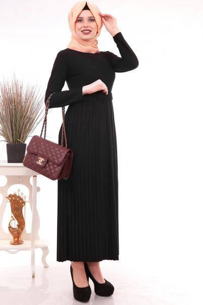 Piliseli Uzun Elbise Siyah