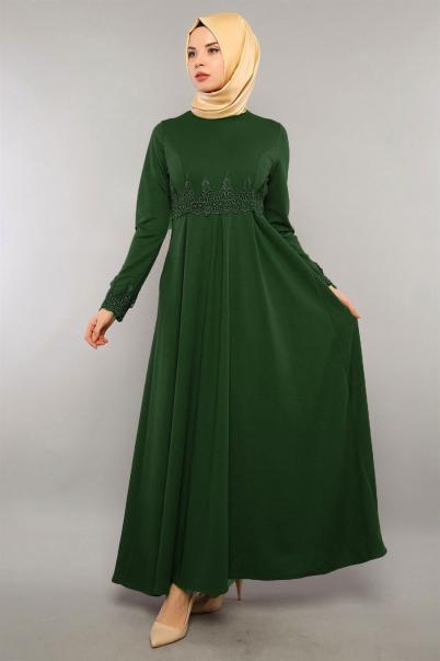 Elbise Güpür Detaylı Zümrüt