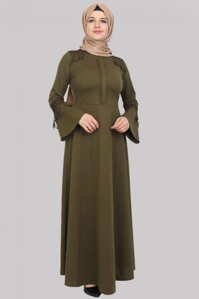 Elbise Haki Püskül Detaylı