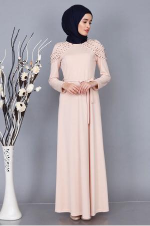 Elbise Omzu İnci Apoletli Elbise
