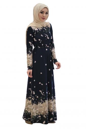 Siyah Elbise Papatya Desenli