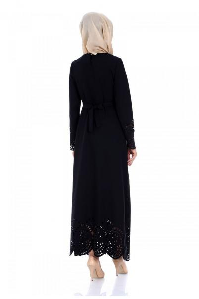 Elbise Lazer Kesim Siyah