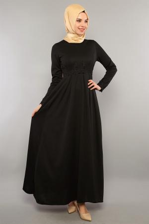 Elbise Siyah Güpür Detaylı