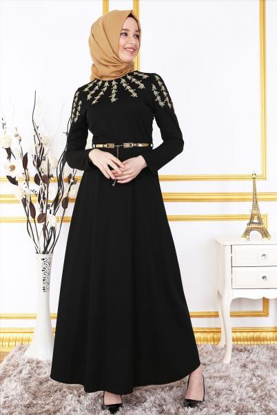 Elbise Siyah Nakışlı