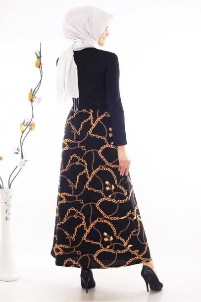 Siyah Zincir Desenli Tesettür Elbise