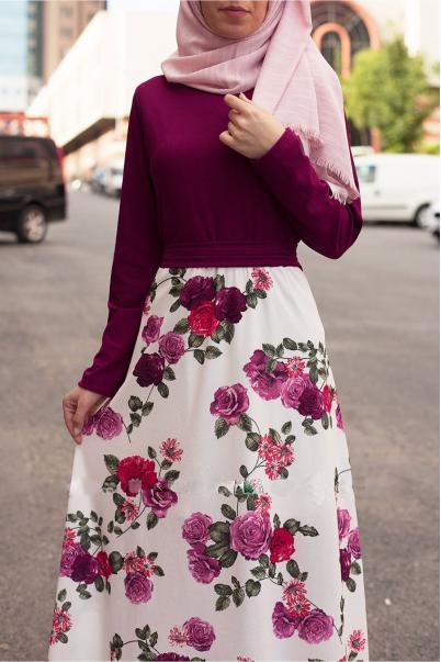 Mürdüm Etekleri çiçek desenli elbise