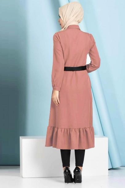 Fırfırlı Boydan Gül Kurusu Tesettür Elbise