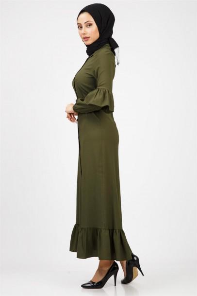 Tesettür Fırfırlı Boydan Elbise Haki