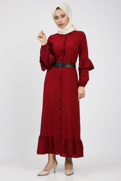 Fırfırlı Boydan Tesettür Elbise Kırmızı