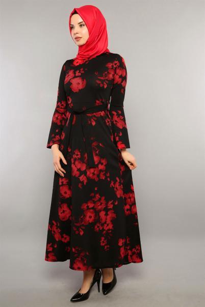 Gül Desen Siyah Elbise