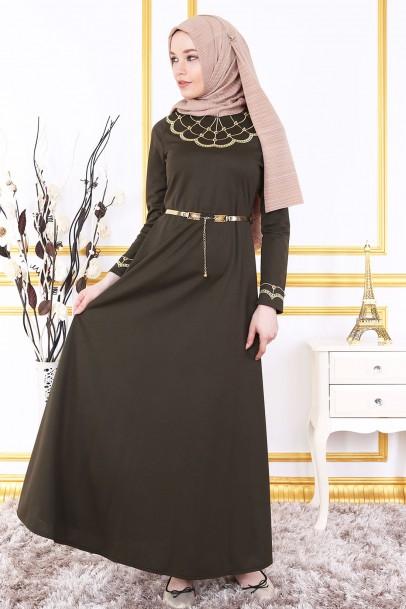 Haki Nakışlı Kemerli Elbise