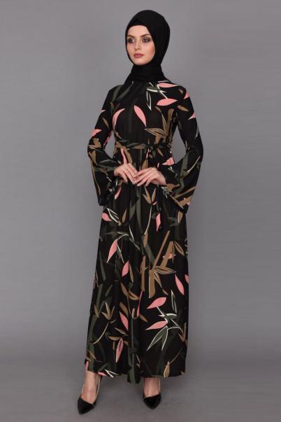 Elbise Çiçek Desenli İspanyol Kol