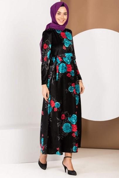 Kadife Elbise Çiçek Baskılı