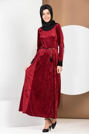 Kadife Tesettür Elbise Danteli