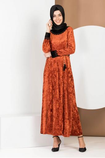 Kadife Elbise Kol Ve Yaka Dantelli Kiremit