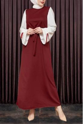 Kadın Elbise Kol Kurdeleli Bordo