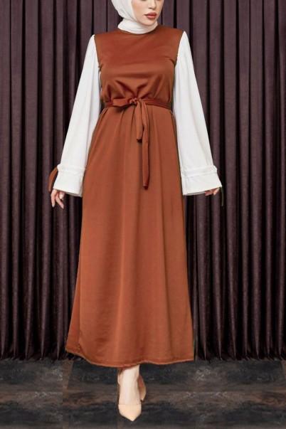 Kadın Elbise Kol Kurdeleli Kiremit