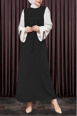 Kadın Elbise Kol Kurdeleli Siyah