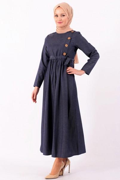 Boydan Elbise Yandan Düğmeli İndigo