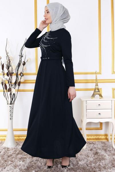 Göğsü İnci Ve Taş Detaylı Elbise