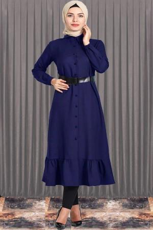 Fırfırlı Boydan Lacivert Tesettür Elbise