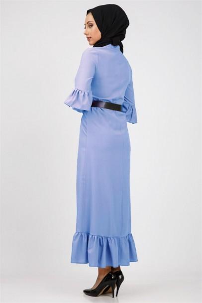 Mavi Tesettür Fırfırlı Boydan Elbise
